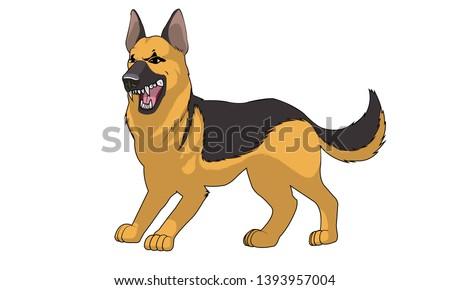 German Shepherd dog rabies bite and feeling angry, bad dog behavior.