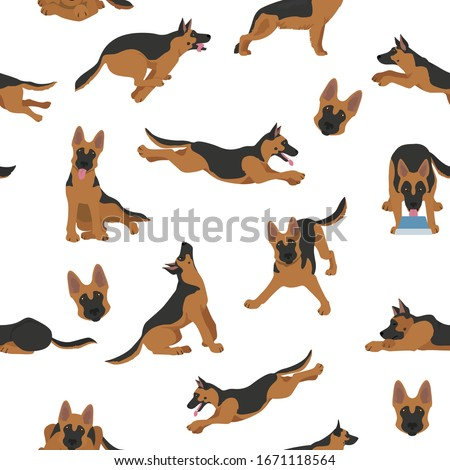 German shepherd dogs in different poses. Shepherd characters seamless pattern.  Vector illustration Foto stock ©