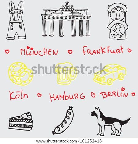 stock vector : German symbol icon seamless pattern