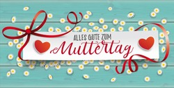 German text Alles Gute zum Muttertag, translate Happy Mothers Day.  Eps 10 vector file.