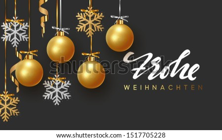 German text Frohe Weihnachten. Background design of Xmas gold balls and bauble, golden glitter silver snowflake hanging on the ribbon. Festive decorative template. Merry Christmas and Happy New Year. Stock foto ©