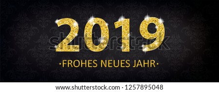 German text Frohes Neues Jahr, translate Happy New Year. Eps 10 vector file. #1257895048