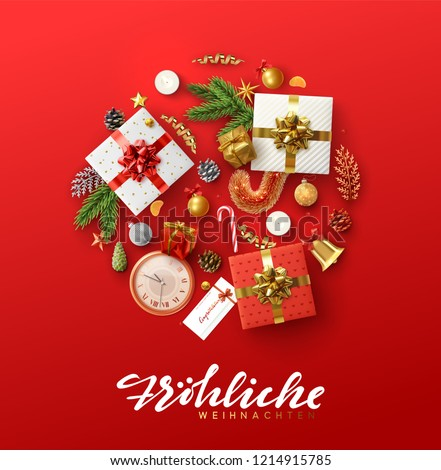 German text Frohliche Weihnachten. Christmas greeting card with holiday objects. Background with gift box and balls design. Postcard with clocks, candles and fir branches. Xmas decoration elements.
