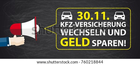 German text KfZ-Versicherung wechseln, translate Change Car Insurance, Save Money. Eps 10 vector file.