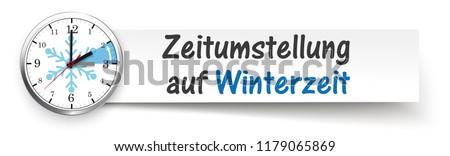 German text Zeitumstellung auf Winterzeit, translate Time Change Standard Time. Eps 10 vector file.