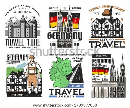 german travel icons of