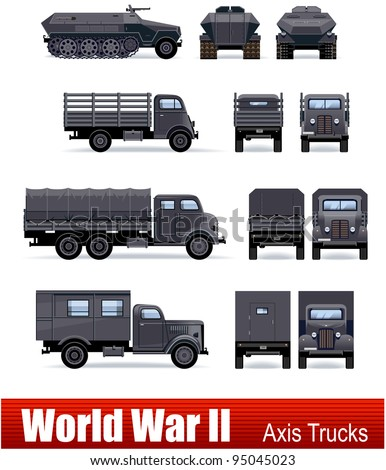 German  trucks and APC in vector. WW2 series.