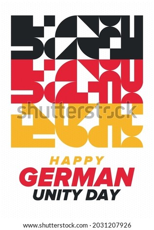 German Unity Day. Celebrated annually on October 3 in Germany. Happy national holiday of unity, freedom and reunification. Deutsch flag. Patriotic poster design. Vector illustration Stock foto ©