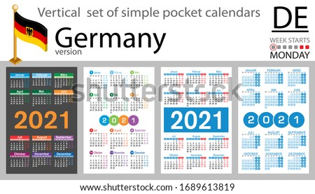 German vertical set of pocket calendars for 2021 (two thousand twenty one). Week starts Monday. New year. Color simple design. Vector
