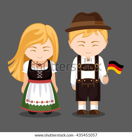 Germans in national dress with a flag. A man and a woman in traditional bavarian costume. Travel to Germany. People. Vector illustration. ストックフォト ©