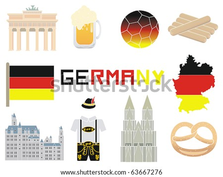 Germany and German icons in a vector illustration