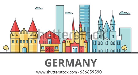 Germany city skyline. Buildings, streets, silhouette, architecture, landscape, panorama, landmarks. Editable strokes. Flat design line vector illustration concept. Isolated icons on white background