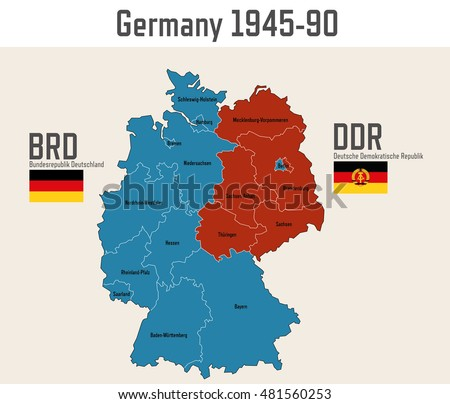 Free germany map vector germany cold war map with flags of eastern and western germany gumiabroncs Gallery