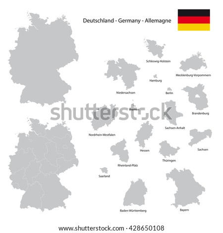 germany country map collection with separated federal state silhouettes, high detailed,