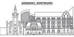 Germany, Dortmund line skyline vector illustration. Germany, Dortmund linear cityscape with famous landmarks, city sights, vector landscape.