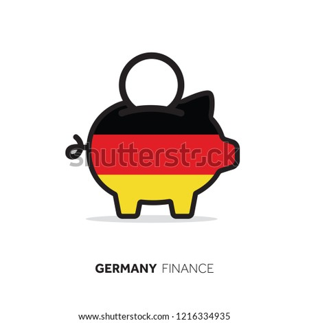 Germany economic concept. Piggy bank with national flag.