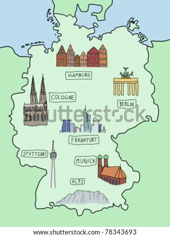 Germany - famous places on a doodle map: Berlin, Hamburg, Cologne, Frankfurt, Stuttgart, Munich and Alps. Color version.