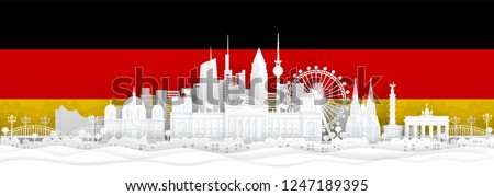 Germany flag and famous landmarks in paper cut style vector illustration.