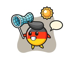 Germany flag badge mascot illustration is catching butterfly, cute style design for t shirt, sticker, logo element