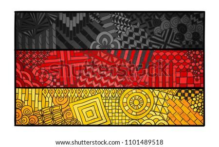 Germany flag. Deutschland national symbol. German country sign. Berlin. Deutsch souvenir design. Zentangle ornament. Abstract flag for print design.
