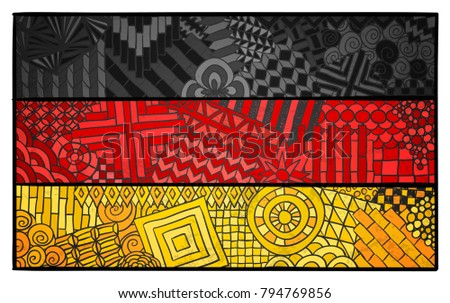Germany flag. Deutschland national symbol. German country sign. Berlin. Deutsch souvenir design. Zentangle ornament. Abstract flag for print design.
