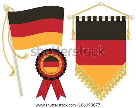 germany flag, rosette and pennant, isolated on white