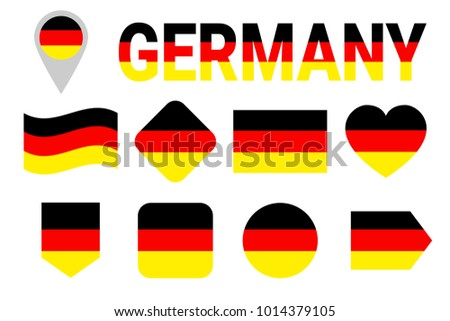 Germany flag vector set. Collection of German national flags. Flat isolated icons, traditional colors. Illustration. Web, sports pages, travel, school, geographic, cartographic design elements