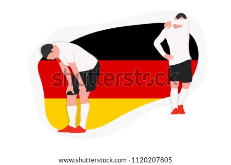 Germany football team player defeat sadness 2018 championship vector illustration soccer
