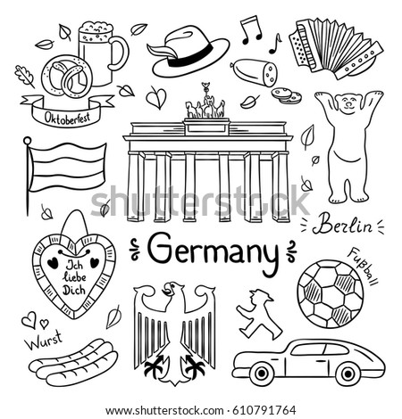 Germany hand drawn illustrations. Vector symbols of Germany: travel icons and doodles