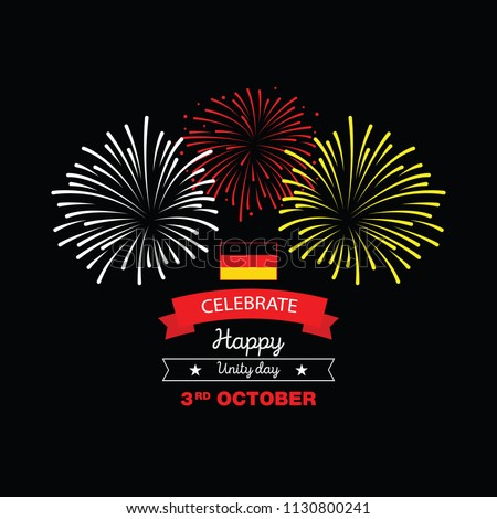 Germany Happy Unity Day, 3 rd of October, celebration card with German national flag. Vector illustration.