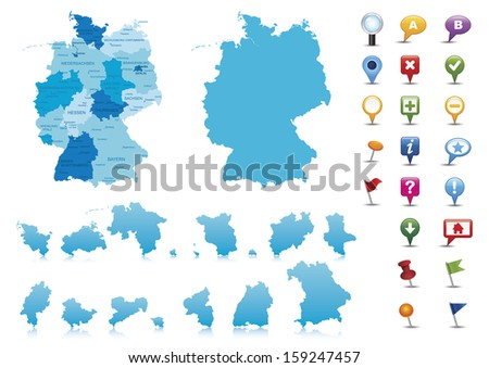 Germany-highly detailed map.All elements are separated in editable layers clearly labeled Vector