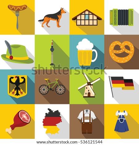 germany icons set flat