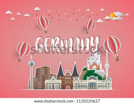 Germany Landmark Global Travel And Journey paper background. Vector Design Template.used for your advertisement, book, banner, template, travel business or presentation - Shutterstock ID 1120220627