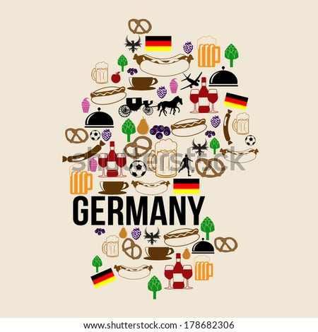 germany landmark map silhouette