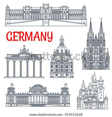 germany landmarks thin line