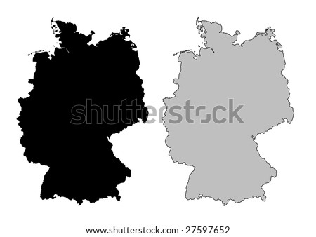 Germany map. Black and white. Mercator projection.