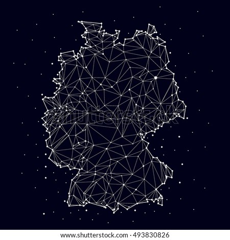 Germany map , constellation, vector