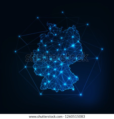 Germany map outline with stars and lines abstract framework. Communication, connection concept. Modern futuristic low polygonal, wireframe, lines and dots design. Vector illustration.