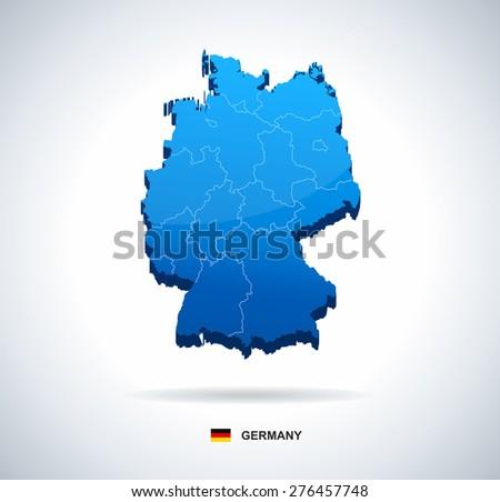 germany map three dimensional vector illustration