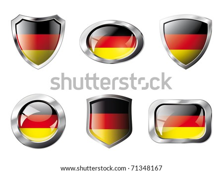 Germany set shiny buttons and shields of flag with metal frame - vector illustration. Isolated abstract object against white background.