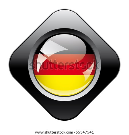Germany shiny button flag with black frame -  vector illustration. Isolated abstract object against white background.