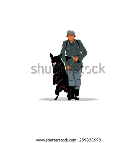 germany soldier with dog sign