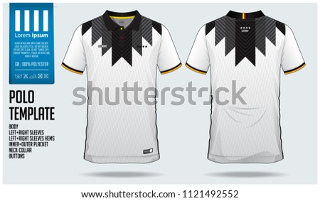 Germany Team Polo t-shirt sport template design for soccer jersey, football kit or sportwear. Classic collar sport uniform in front view and back view. T-shirt mock up for sport club. Vector.