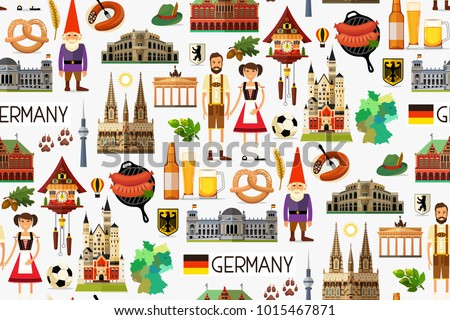 Germany Travel Seamless Pattern. Map of Germany and Travel Icons. Vector Illustration. Foto d'archivio ©
