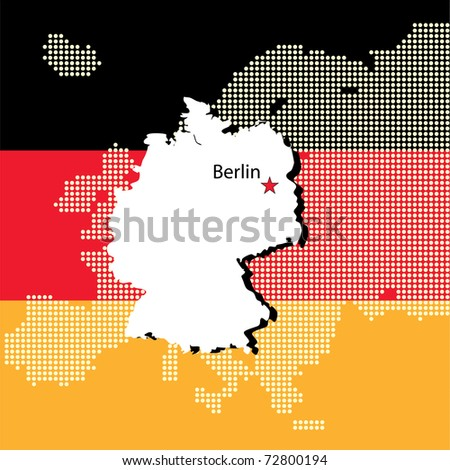 Germany with europe in halftone dots  and flag