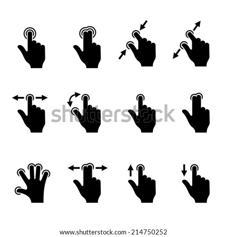 Gesture Icons Set for Mobile Touch Devices. Vector illustration