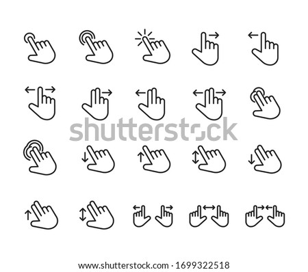 Gesture line icons set. Stroke vector elements for trendy design. Simple pictograms for mobile concept and web apps. Vector line icons isolated on a white background.  Stockfoto ©