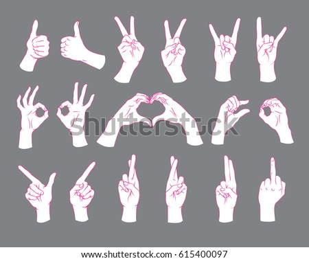 Gesture set. Female hands showing different signs. Vector illustration in sketch style isolated on a grey background. Making signals by hands. Pink lines and white silhouette. Various interpretations.