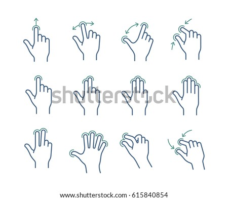 Gesture touch icons for a mobile application manual. User interface gesture icon set.