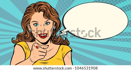 gesture woman pointing finger at you. Pop art retro comic book cartoon drawing vector illustration kitsch vintage